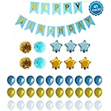 Mahogany Life Set - 1 Happy Birthday Banner, 6 Star Shaped Foil, 4 Paper Flowers, 30 Latex Balloons, Multicolour (Total 41 Piece Set)
