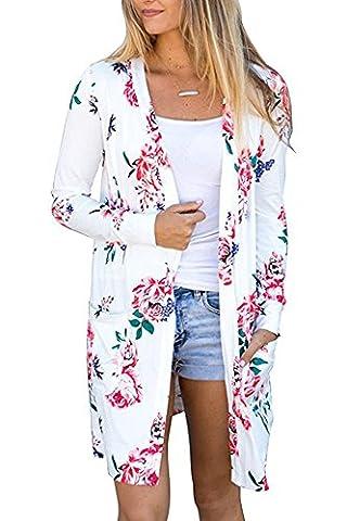 Outgobuy Women's Boho Floral Print Long Sleeve Wrap Kimono Cardigans Casual Coverup Coat Tops Outwear (L,