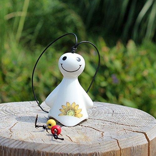 Republe Schöne Puppe Shaped Keramik Hanging Wind Chime Hauptdekoration Korridor Außen Wind Bell Muster Zufall