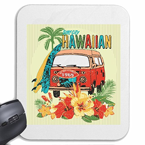 Reifen-Markt Mousepad (Mauspad) SURF City Hawaii SURFEN Beach Surfbrett Longboard Wellenreiten Wellen ANFÄNGER Shop für ihren Laptop, Notebook oder Internet PC (mit Windows Linux usw.) in Weiß