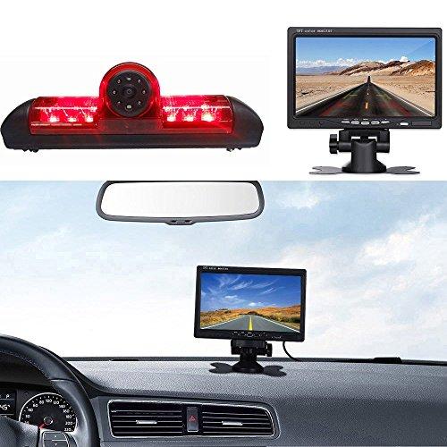 【Rückfahrkamera Transporter +7 Zoll TFT LCD Bildschirm Auto Monitor】 Bremsleuchte Auto Dach Rückfahrkamera für FIAT Ducato X250/Peugeot Boxter/Citroen Jumper/Dodge, HD Auto Monitor für Alle Autos