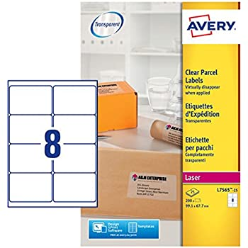 avery self adhesive clear parcel shipping labels laser printers 8