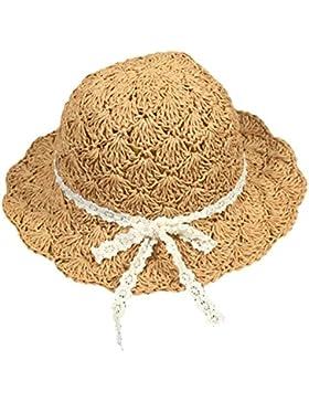 Vococal - Verano Gran Ala Hueco Casquillo del Sombrero de Paja Sol para Playa Niños Bebés Niñas,Caqui