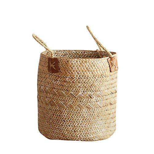 iBaste Aufbewahrungskorb aus Seegras Geflochten Korb mit Griff Einkaufskorb Blumentöpfe Aufbewahrungskorb für Spielzeug Wäsche Lagerung Nordischer Stil-Beige-L/21cmx25cm