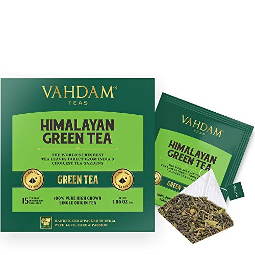 Green Tea Leaves from Himalayas (30 Tea Bags), 100% Natural Weight Loss Tea, Detox Tea, Slimming Tea, Anti-OXIDANTS Rich - Green Tea Loose Leaf - Brew Hot or Iced Tea - 15 Ct (Pack of 2)