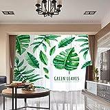 RLF LF Verdunkelungs-Fenstervorhang Grünes Blatt Des Digitaldruck-3D Wärmeisolierte Tülle Verdunklungsvorhänge Vorhänge Durch RLF.LF,White,100Cm*250Cm