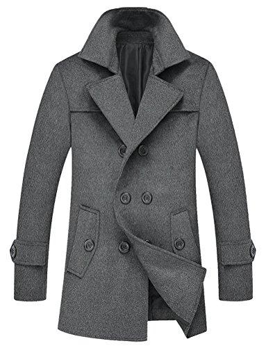 Brinny Hiver Trench Homme Manteau Slim Fit veste coupe-vent épaissi Veston Gris
