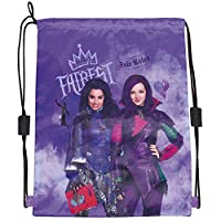 Disney Descendants Drawstring Sac for Girls - Swim Gym Bag Waterproof with Mal and Evie Print - Training Shoe Bag Ideal for Travel and Sport - Purple - 40x33 cm - Perletti