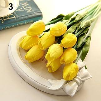 tWUJl4SXJ Flores Artificiales, Flores Falsas Ramo De Tulipanes Artificiales para El Banquete De Boda Tienda Decoración Decoración del Hogar Amarillo