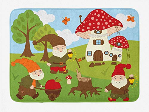 KIYINY GNOME Bath Mat, Cute Elves Working in The Garden Amanita House Butterflies Forest Trees Composition, Plush Bathroom Decor Mat with Non Slip Backing, Multicolor 15.7X23.6 inch/40X60cm
