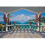 papier peint photo mural intiss 38v terrasse 350x260 cm 7 l s 50x260 cm de haute qualit. Black Bedroom Furniture Sets. Home Design Ideas