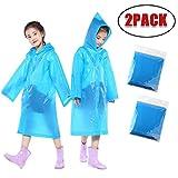 URSING 2PCS Tragbar Kinder Regenponcho Wiederverwendbar Regenmantel Regen Poncho Wasserdicht Regenjacke Outdoor Regencape mit Kapuze Raincoat Regenbekleidung für Jungen Mädchen (6-12Y, Blau)