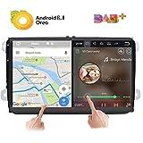 Android 8.0 stereo per auto, doppio 2 DIN 9', schermo IPS touch capacitivo sistema di navigazione GPS per VW Volksvagen Golf Passat Tiguan Polo Jetta Skoda Seat Quad Core 2G RAM.