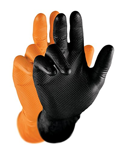 Grippaz Nitril-Handscuhe (50 Stück) latexfreie Arbeitshandschuhe extrem robust&reißfest, Schwarz, L