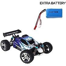 WLtoys A959 1:18 eléctrico coche de Rc 4WD eje del carro de accionamiento con batería adicional (Azul)