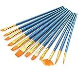 GoFriend - Set di pennelli da pittura, 12pezzi,  punta tonda, fine, in nylon, per acquerello, colori acrilici, pittura a olio, 12/set paint brush