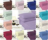LUXURY Finest Quality EASY CARE FLAT BED SHEETS ~ Optional PILLOWCASES PolyCotton Fabric ~ 19 Stunning COLORS UK Sizes (KING SHEET, MID BLUE)