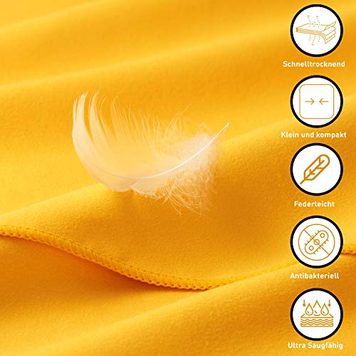 3-tlg Fitness-Handtuch Set mit Reißverschluss Fach + Magnetclip + extra Sporthandtuch   zum Patent angemeldetes Multifunktionshandtuch, Fit-Flip Microfaser Handtuch (gelb) - 5
