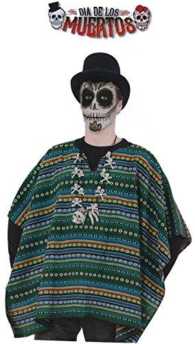 Poncho el Taco Zombie Halloween Horror Überwurf DIA DE LOS MUERTOS 1tlg. In Einheitsgröße Damen Herren Unisex