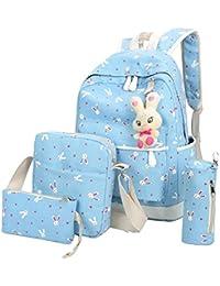 Zibuyu 4pcs Women Canvas Backpack Crossbody Bag Clutch Bag Pen Bag(Sky Blue)