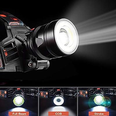 Stirnlampe-2 Funktionen (COB Flut- & Scheinwerferlicht) 6000 Lumen extrem hell 9oz Wasserdicht Zoomfähig 18650 Wiederaufladbarer Arbeitsscheinwerfer für den Bau Dental Elektriker DIY,Led Kopflampe von Cobiz