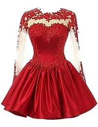 JAEDEN Mujer Manga larga Raso Vestidos de baile Corto Vestido de fiesta Compromiso vestido