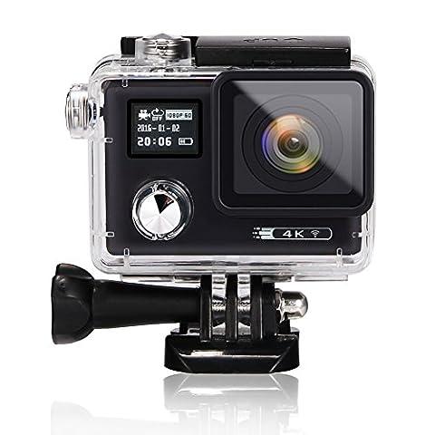 acekool 4K HD WiFi Action Kamera 16MP Dual Screen (5,1cm + 1,7cm) Wasserdicht Tauchen Kamera mit 170Grad Weitwinkel, 2PCS Batterien und gratis 19Zubehör-Kit schwarz