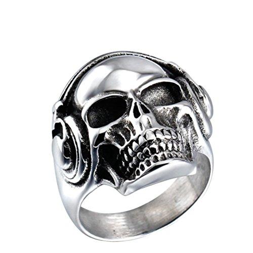 �ren Musik Schädel Kopfhörer Biker Ring HerrenGröße 60 (Halloween Skelette Zum Verkauf)