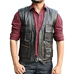 Jurassic World Chriss Pratt Brown Leather Vest - Jurassic World Chriss Pratt Chaleco de cuero marrón (XL, Marron)