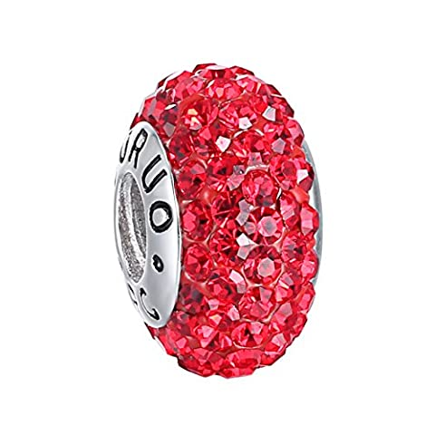 Boruo 925 Sterling Silver Czech Crystal Ruby Glass Ball Charms Beads Spacers July Birthstone Threaded Core Charm Fit Pandora Bracelets. by BoRuo
