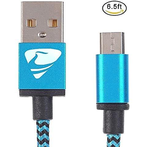 Rephoenix 6.6ft / 2,0 m di Nylon Intrecciato Groviglio-Free Micro Cavo USB con Connettor Dorati per Android, Samsung, HTC, Nokia, Sony e More (Blu)