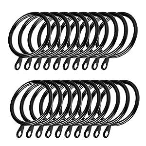 Coolty 60 Stück Metall Vorhangringe Hängende Ringe für Gardinenstangen zum Aufhängen von Vorhängen, 38 mm Innendurchmesser (Schwarz)