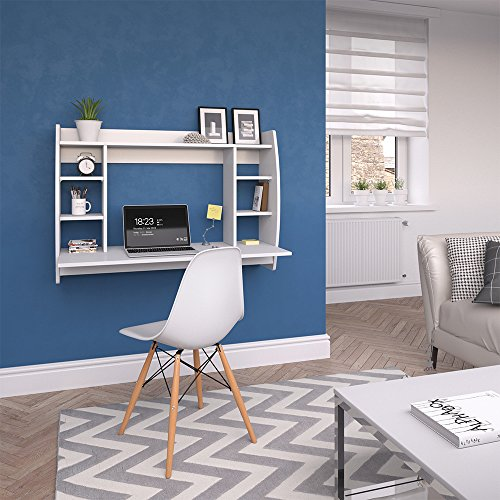 VICCO Wandschreibtisch MAX 110 cm - Schreibtisch Wandschrank Wandtisch Bürotisch Arbeitstisch für PC Computer - 3 Dekore (Weiß) - 5
