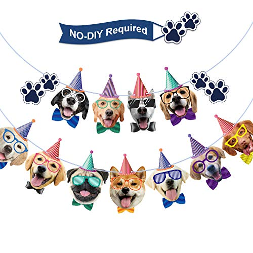 Faces Birthday Banner Dog Birthday Garland Dog Theme Party Bunting Decoration Party Supplies (Dog)