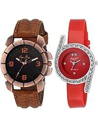 Pappi Boss - Pack Of 2 - Designer Couple Wrist Watch For Boys, Girls, Men, Women