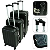 Set of 3 black suitcases with wheels