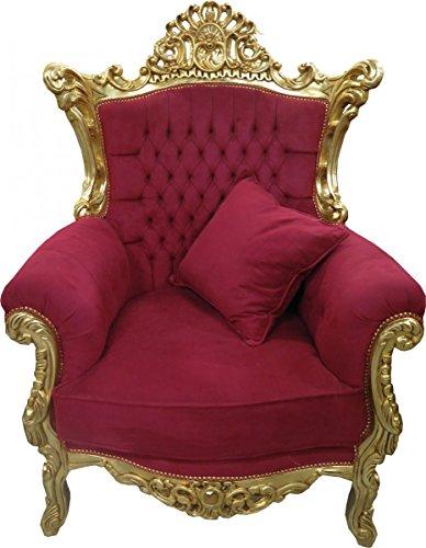 Casa-Padrino Sillón Barroco 'Al Capone Cojines Burdeos Rojo/Dorado - Muebles de Estilo Antiguo