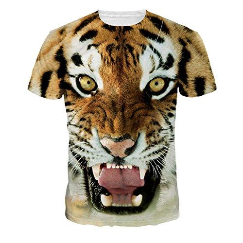 Frauen Wütend Tiger T-Shirts Tops Neueste Tier Gestaltung Sommer Kurz Langarmshirts (T-shirt Tiger Print)
