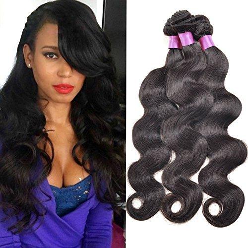 Cheveux brésiliens Ondulés 3 lots 16 18 50,8 cm Extensions tissage cheveux naturels non traités brésiliens vierges 100 Cheveux Humains Couleur Noir Naturel