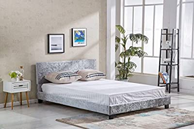 LUXURIOUS CRUSHED VELVET UPHOLSTERED LOW FOOT END BED FRAME BEDSTEAD By LightSleepers®. - low-cost UK light shop.
