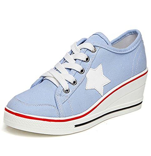 Solshine Damen Canvas Sportlich Low Top Keilabsatz Schnürer Sneaker-Wedges Sportschuhe Größe 35-43 Canvas Wedge Sneakers