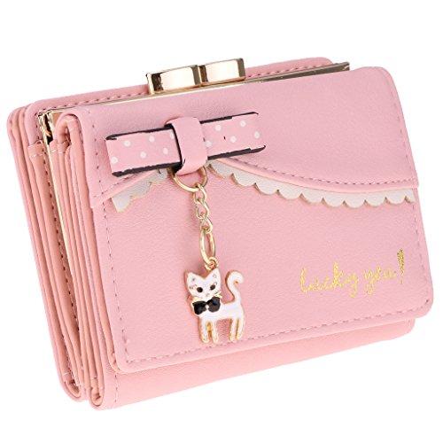 Rosa Leder Kupplung (MagiDeal Frauen Kurze Brieftasche Kredit / ID Kartenhalter PU Leder Kupplung Handtasche Tasche - Rosa)
