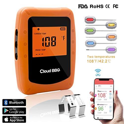 Digital BBQ Thermometer Funk Bluetooth - Cadrim Wireless Grillthermometer Bratenthermometer mit 6 Sonden LCD Display Magnetic Design für Backen, Grill, Küche Unterstützt IOS, Android