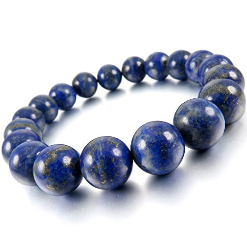 MunkiMix 10mm 12mm Bracelets d'énergie Lien Poignet Pièrre d'Énergie Bleu Lapis lazuli Buddha Mala Boule Perle 12mm Lapis-Lazuli