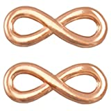 Sadingo DQ Metallanhänger, Schmuckverbinder - 'Infinity' - 3 Stück - 15 x 6 mm - Zamak - Farbe wählbar , Farbe:Roségold