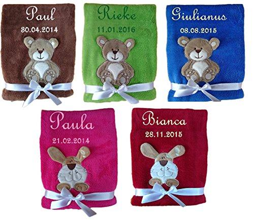 Babydecke Teddy / Hund mit Namen und Datum bestickt Kinderdecke Decke