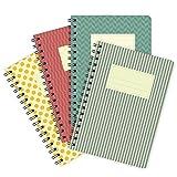 etmamu 610 4er-Pack Notizblöcke Farbige Muster A6, 60 Blatt Punktraster