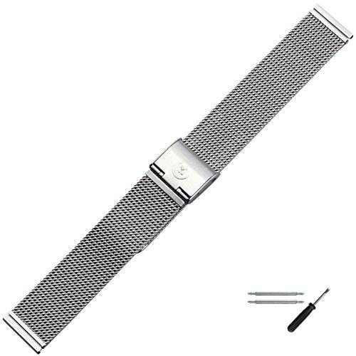 MARBURGER Unisex Uhrenarmband 18mm Edelstahl Silber - Mesh / Milanaise - Ersatzarmband, Schließe Silber - 84904180020