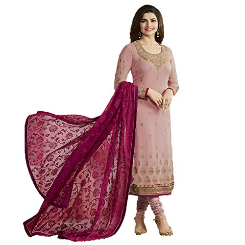 Priyavadhu Women's Georgette Embroidered Semi Stitched Dress Material(Light Mauve_Free Size_SBJNT5552)
