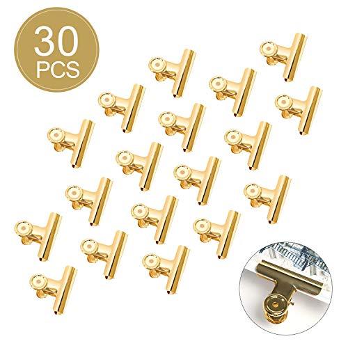 Binder Clips - YeeStone 30 Stück 22mm Büroklammern Briefklemmer Bulldog Clips für Bilder Fotos, Küche zu Hause, Büro Zubehör (Gold) - Foto Haus